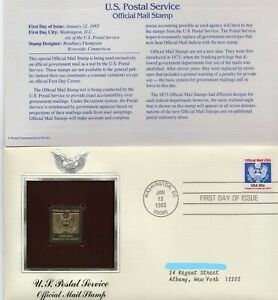 USPS First Day Cover ~ 1983 20c U.S.P.S. Official Mail 22K Gold Replica ~ Mint!!