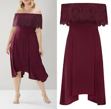 COAST Womens CURVE Oriel Lace Bardot Midi Dress in Merlot Plus Sizes 20 to 26