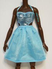 Mattel Light Blue Satin Side Cuts Dress ~ Barbie Fashionistas Fashion Clothes