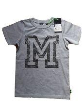BNWT Diseñador Molo Gris Negro Letra M de manga corta Camiseta 8y 128 Cm