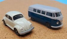 Vintage Wiking Models vintage 1:87 scale VW Beetle AND VW Bus TWO PACK MINT