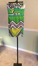 Trina Turk Green/Navy/Yellow Print Strapless Cotton Blend Dress - 8