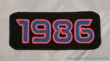 Embroidered Retro Vintage 80s Neon Hot Pink & Blue 1986 Year Patch Iron On USA