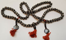 TIBETAN TRIBAL GYPSY BOHO RESIN BEADED BONE NECKLACE 35'' Black White Red NEW