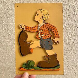 1970er Pebaro: Kleiner Däumling 21cm Aufgeklebte Laubsäge-Arbeit Deko Kind ALT
