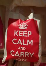 KEEM CALM AND CARRY ON CROWN RED TOTE COTTON BOOK BAG - NEW POST DAILY + WW