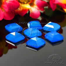 1pcs 10x10mm Natural Chalcedony Pyramid Cabochon, DYED,Blue Color, Square Shape