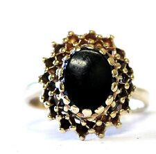 10k yellow gold womens oval black onyx ring 4.4g vintage ladies estate antique