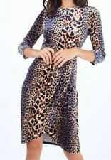 Blue/tan Velour Leopard Fitted Dress Size 8 womens dress animal print CASUAL
