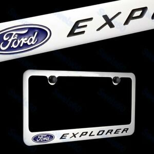 FORD EXPLORER Chrome Plated Brass License Plate Frame with Black Caps AUTHENTIC