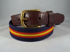 VTG Coach Brown Leather & Navy Blue/Red/Yellow Wool Preppy-Golf Belt Sz 34