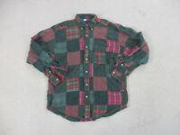 VINTAGE Tommy Hilfiger Button Up Shirt Adult Medium Green Red Patch Work Men 90s