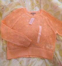 Banana Republic Women Crew Neck Long Sleeve Orange Sweater Size: LP New With Tag