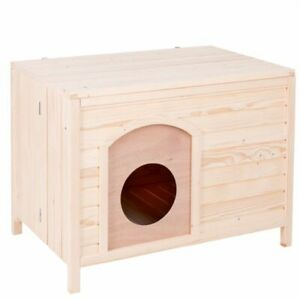Cat House Spacious Wooden Easy Assemble Collapsible Paint Indoor Outdoor Robust