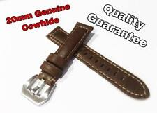 New 20mm Top Grain Cowhide Leather Watch Strap Band for PAM Marina Luminor