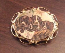 German Shorthaired Pointer Dog vintage like brass pin brooch