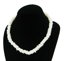 "Puka Shell Necklace 18"" Hawaiian Surfer Choker with Screw Clasp Jewelry - White"