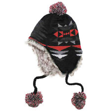 Peru Ica Warm Knitted Pom-Pom Hat Cold Weather Mens Beanie Fur Lining Black Red