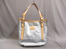 Auth TOD'S G Bag Light Blue Beige Coated Canvas &  Leather Tote Bag