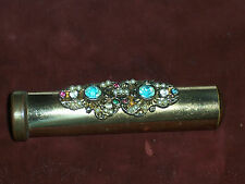 TOTALLY INTERESTING AND UNIQUE VINTAGE RHINESTONE TUBE TOOTHBRUSH HOLDER