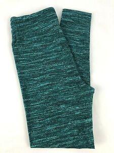 LuLaRoe OS One Size Leggings Green Striped Neutral Print NEW Fits 2-10