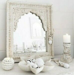 Made to Order Mehrab Indian Hand Carved Mirror Arched Globe Wooden Wall Decor S