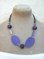 """21"""" Long  Large oval purple chunky wooden Bead Necklace Hippy boho Arty Quirky"""