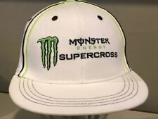 Monster Energy Motocross RARE White L/XL Authentic PERFECT used Hat Cap