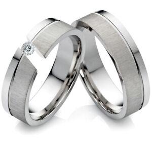 2 Partnerringe Eheringe Trauringe aus Edelstahl mit Zirkonia Ring Gravur PG205