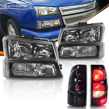 FOR 03-06 CHEVY SILVERADO Headlights Assembly + Bumper + SMOKED Tail Light Set