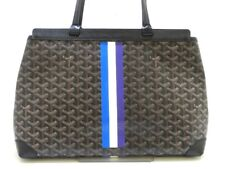 Auth GOYARD Bellechasse PM Black Brown White Coated Canvas Leather Tote Bag