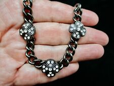 Vintage Silver Tone & Black Japanned Rhinestone Maltese Necklace