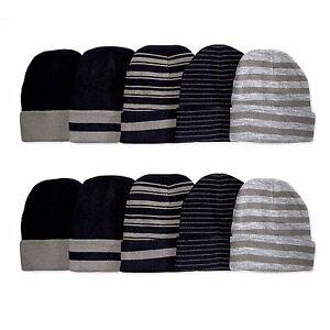 Unisex Stripe Beanie Mens Womens Ski Winter Knit Blank Cuff Hat Cap Warm New