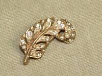 Vintage Art Nouveau Rhinestone Seed Bead Flowing Leaf Pin Brooch