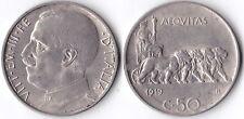 VITT. EMAN. III 50 CENTESIMI LEONI 1919 BORDO LISCIO - SPL -