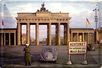 Berliner Tor Eiserner Vorhang Blechschild Schild gewölbt Tin Sign 20 x 30 cm