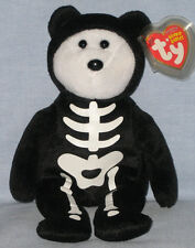 "TY BONESES the 8"" SKELETON BEAR BEANIE BABY - FULL SIZE -NEAR MINT TAG -PLS READ"