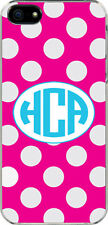 Fuschia Polka Dot iPhone 5 Circle Monogrammed Custom Sticker on Hard Case Cover