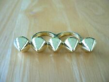 SPIKES 2 Finger Connector Ring Gold Tone Size 6/7 NWOT