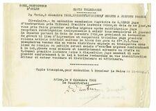 TELEGRAMME de CENSURE 1932 / 67ème R.I.