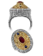 Philip Andre 18k Gold & Sterling Silver Ruby & Sapphire Ring size 7