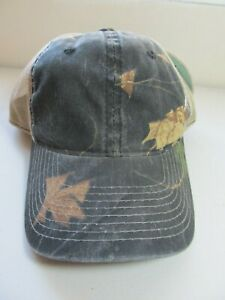 New Realtree Port Authority Camouflage Cap Hat Mesh Snap Back Black Tan