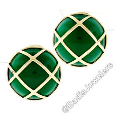 Solid 14k Yellow Gold Large Round Chalcedony Button Earrings & Woven Top Pattern