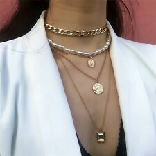 LADIES WOMENS LONG STATEMENT DROP FASHION PEARL COIN LAYERED CHAIN NECKLACE UK