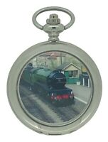 New Vintage Steam Train Silver Tone Quartz Pocket Watch And Chain by WESTIME