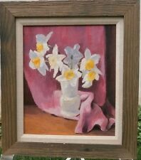 """""""Daffodils"""" Still Life Oil Painting-1986-August Mosca"""