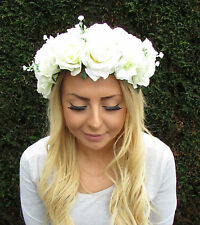 Large Cream White Baby's Breath Gypsophila Rose Flower Garland Headband Big 2011