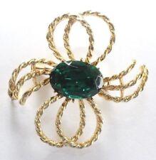 Knot Green Crystal Rhinestone - Gold Tone Brooch Pin - Flower - Filigree - Rope