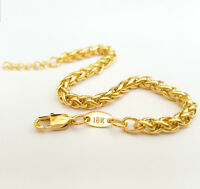 Source 4mm thick 18ct Gold Braided Wheat Chain Bracelet