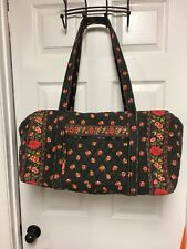 Maggie B Red Roses On Black Quiled Duffle Overnight Bag